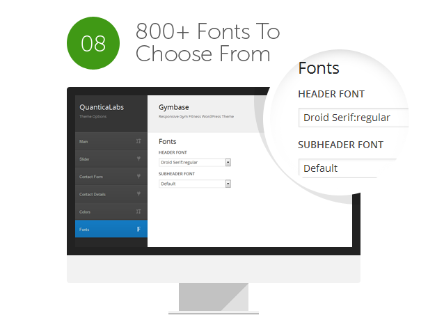 Font of theme
